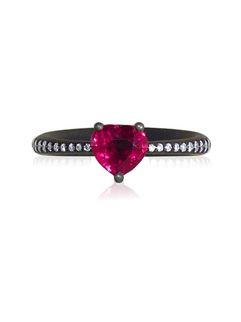 Heart Ruby Titanium Ring