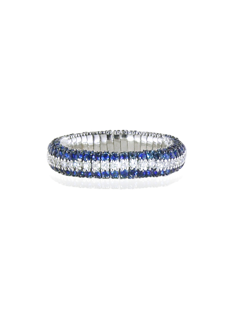 Sapphires and diamonds cashmere ring
